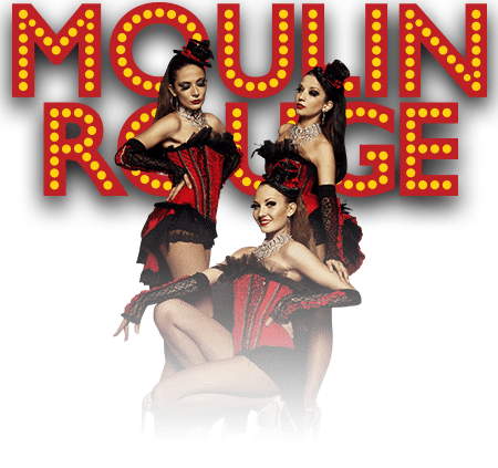 three ladies in red and black corset with a background of Moulin Rouge lights ideal for swinger room