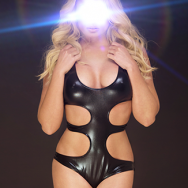 blonde woman wearing a hot sexy black leather bodysuit