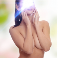 sexy topless lady covering her breast with arms