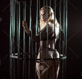 slave sexy blonde lady in the cage naked