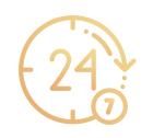 24 hours 7 days a week in gold color icon