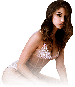 Check brisbane brothel rates of sexy brunette lady wearing white one piece lingerie.